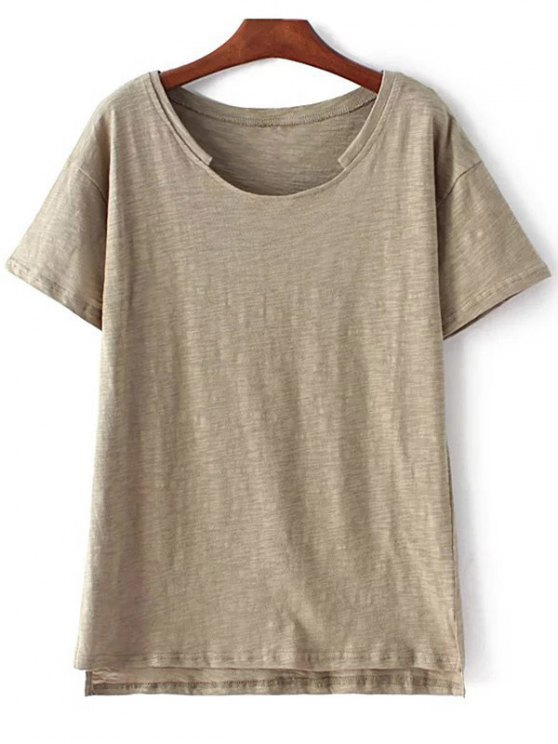 unique Short Sleeve High Low Hem Round Neck T-Shirt - ARMY GREEN L
