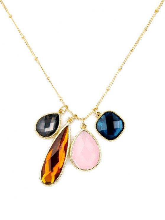 Faux Gem Geometric Pendant Necklace - GOLDEN  Mobile