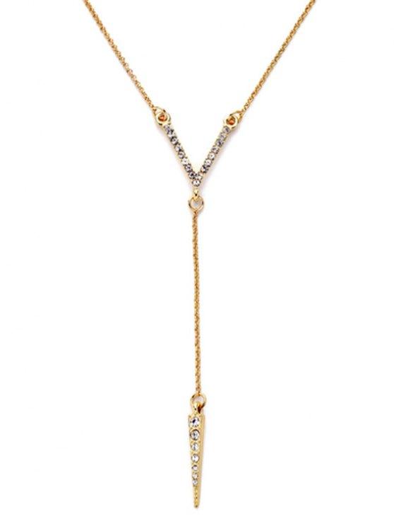 Rhinestone Bullet Pendant Necklace -   Mobile