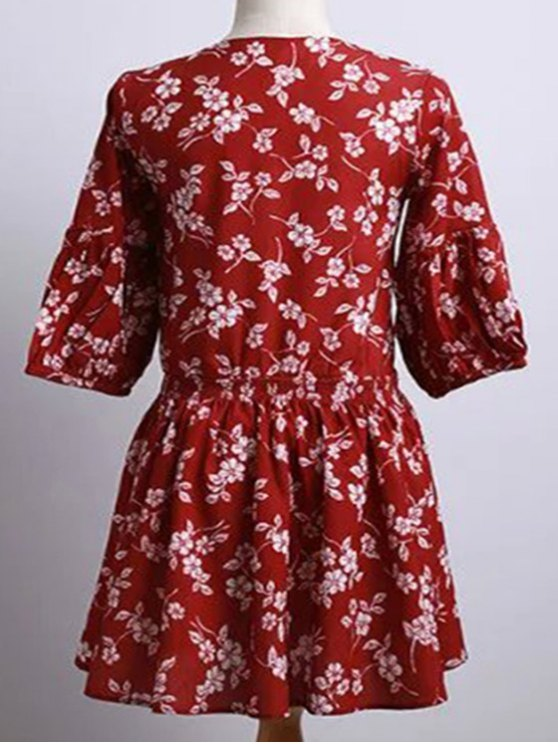 Tiny Flower Print Round Neck Puff Sleeve Dress - RED M Mobile