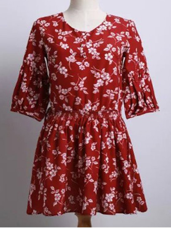 latest Tiny Flower Print Round Neck Puff Sleeve Dress - RED L