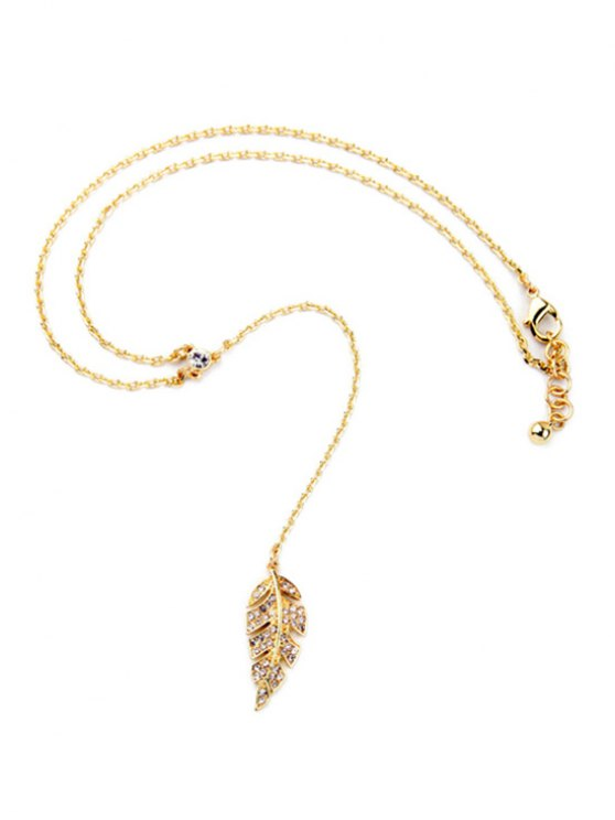 Vintage Long Style Leaf Necklace - GOLDEN  Mobile
