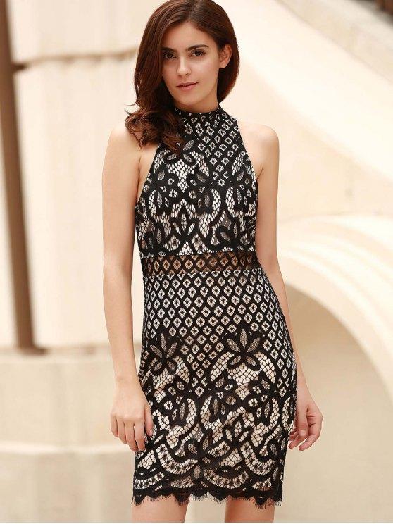 Mock Neck Guipure Lace Sheath Dress - BLACK M Mobile