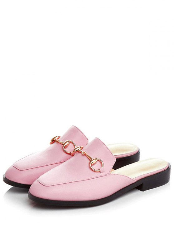 Metal Solid Color Flat Heel Sandals - PINK 37 Mobile