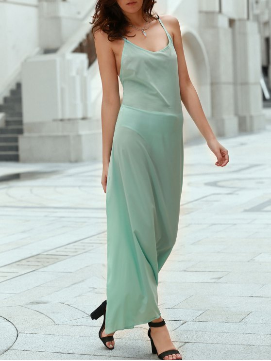 women Solid Color Spaghetti Strap Backless Maxi Dress - LAKE GREEN M