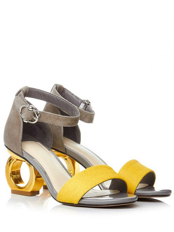 Color Block Ankle Strap Strange Heel Sandals - YELLOW 37 Mobile