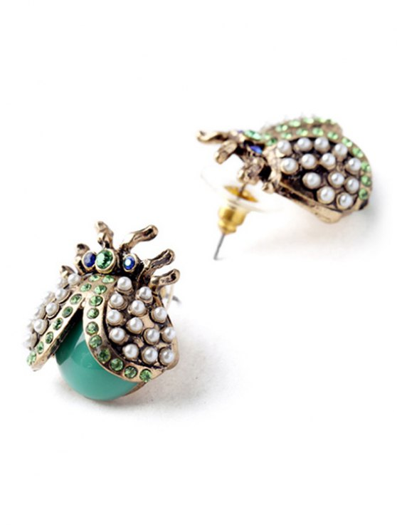 Faux Pearl Rhinestone Ladybug Earrings - COLORMIX  Mobile