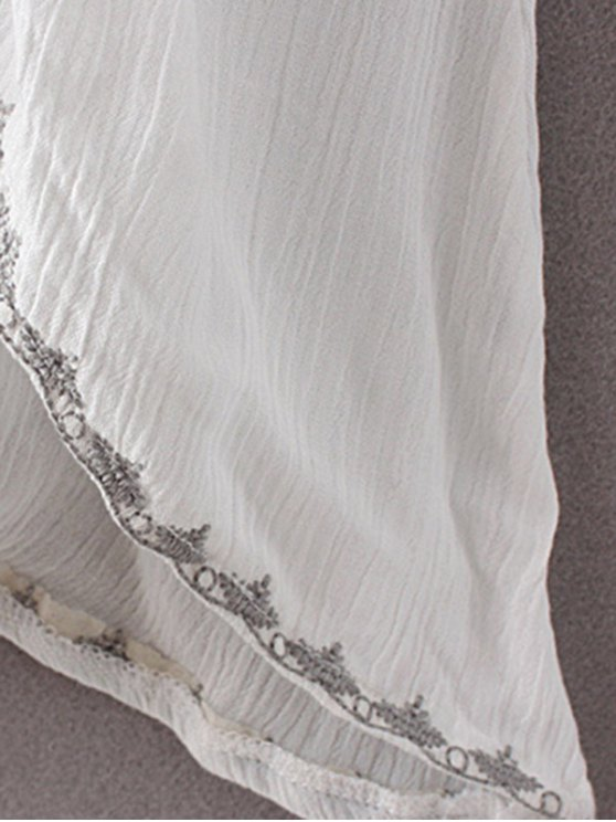 High-Low Hem V-Neck Long Sleeve Embroidery Dress - BLACK M Mobile