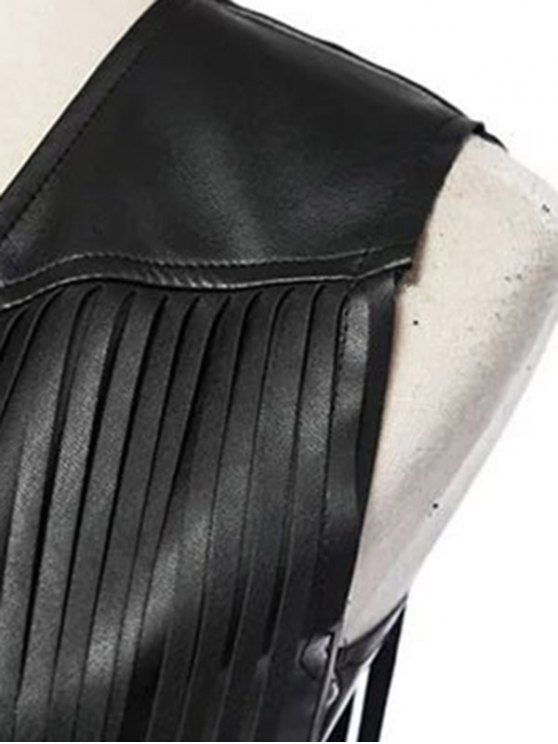 PU Leather Tassels V Neck Waistcoat - BLACK S Mobile