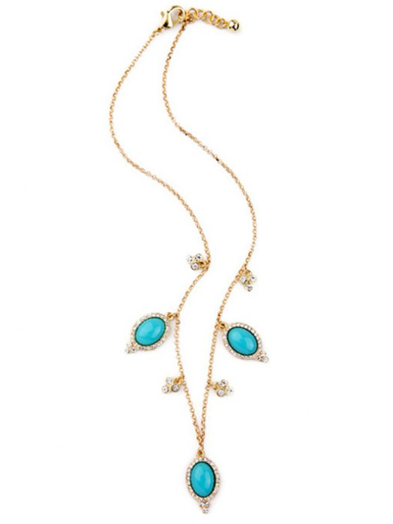 Fake Turquoise Oval Necklace -   Mobile