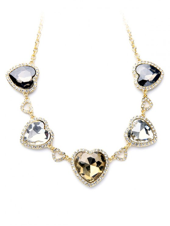 Stylish Heart Faux Crystal Necklace -   Mobile