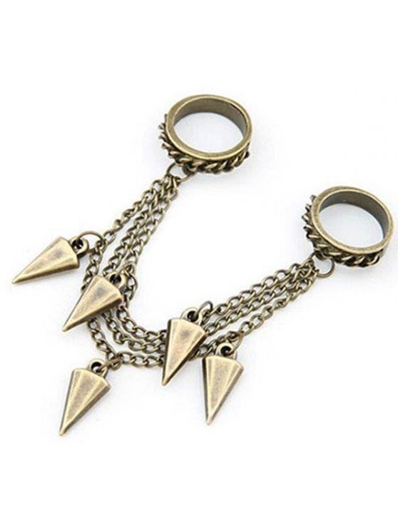 lady Triangle Cone Chain Pendant Double Rings - GOLDEN ONE-SIZE