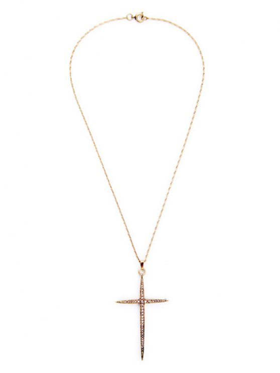 Cross Rhinestone Necklace - GOLDEN  Mobile