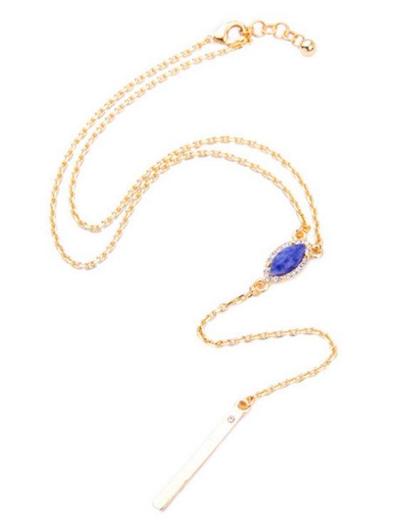 Oval Faux Sapphire Pendant Necklace -   Mobile