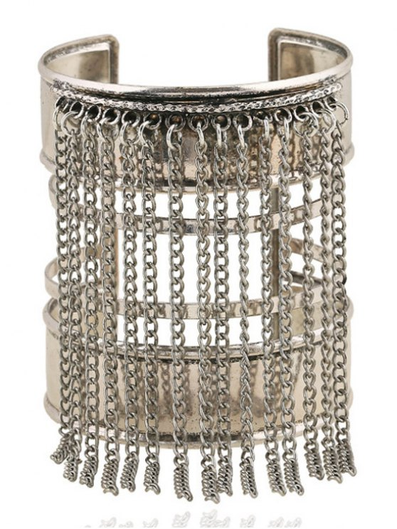 chic Link Chain Tassel Chunky Cuff Bracelet - SILVER