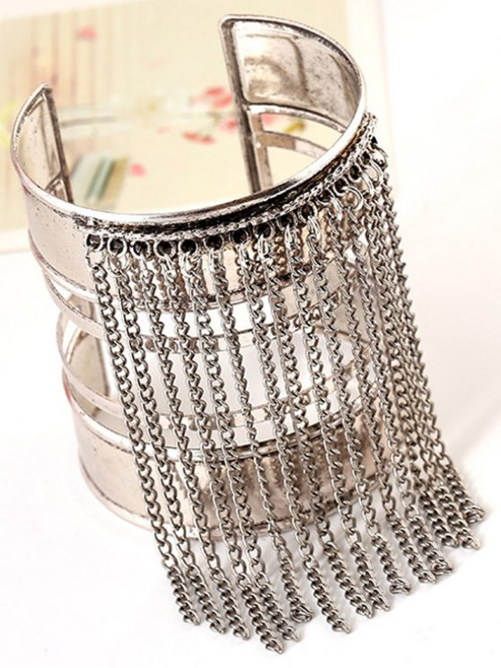 Link Chain Tassel Chunky Cuff Bracelet - SILVER  Mobile