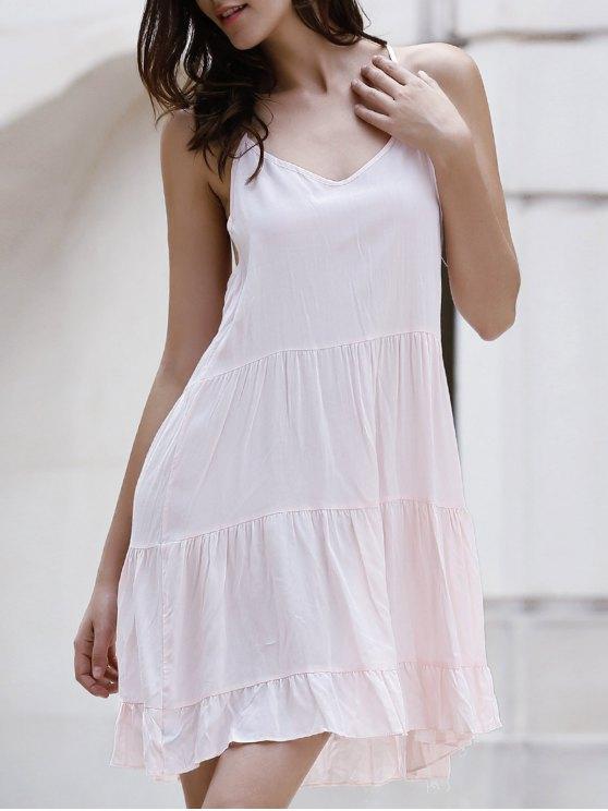 Vestido Monocromático de Tirante Fino con Volantes - Rosa L