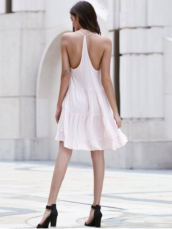Flounce Ruffles Solid Color Spaghetti Straps Dress - PINK L Mobile