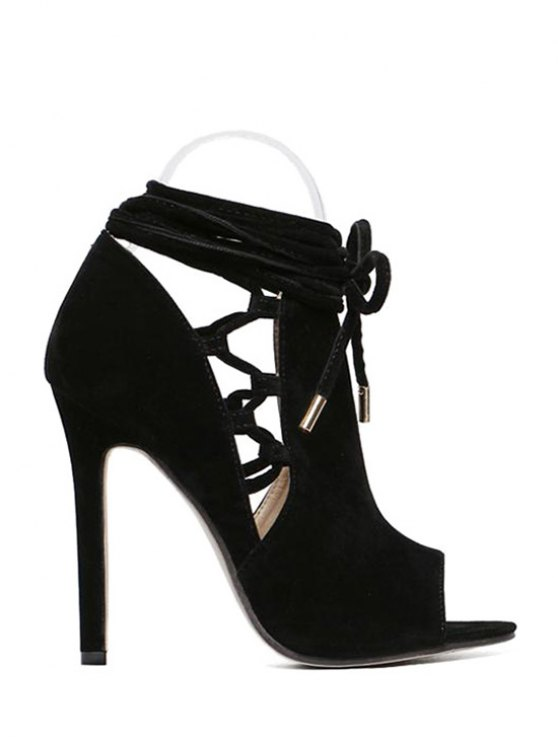 Hollow Out Flock Black Peep Toe Shoes - BLACK 40 Mobile