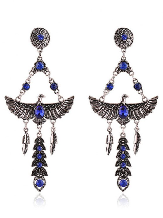 latest Pair of Faux Crystal Decorated Eagle Earrings - SAPPHIRE BLUE