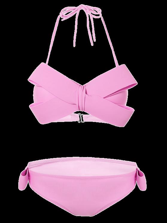 Halter Bikini bowknot - ROSE PÂLE M