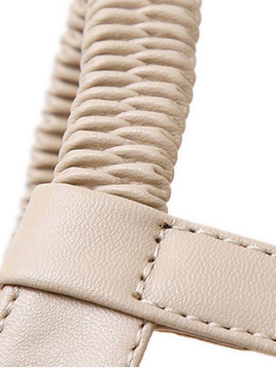 Flower Elastic Platform Sandals - APRICOT 36 Mobile