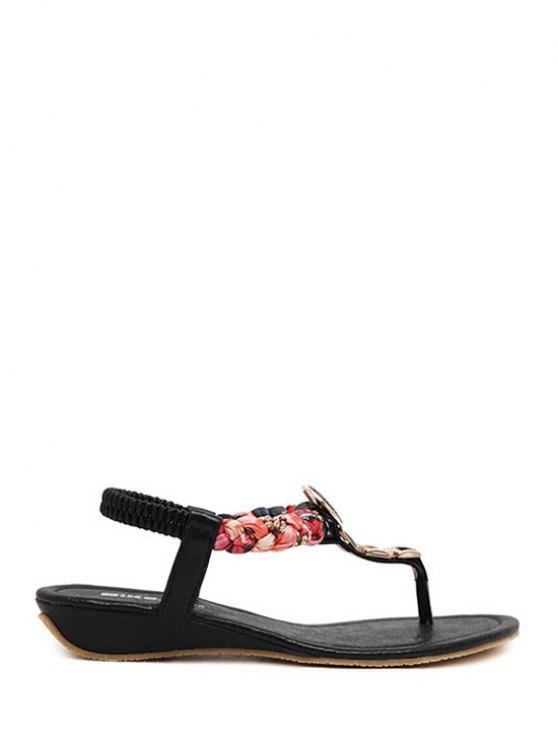 Rhinestone Metallic Low Heel Sandals - BLACK 40 Mobile
