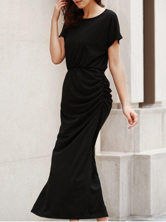 new Open Back Ruched Maxi Dress - BLACK L