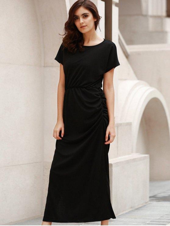 Open Back Ruched Maxi Dress - BLACK L Mobile