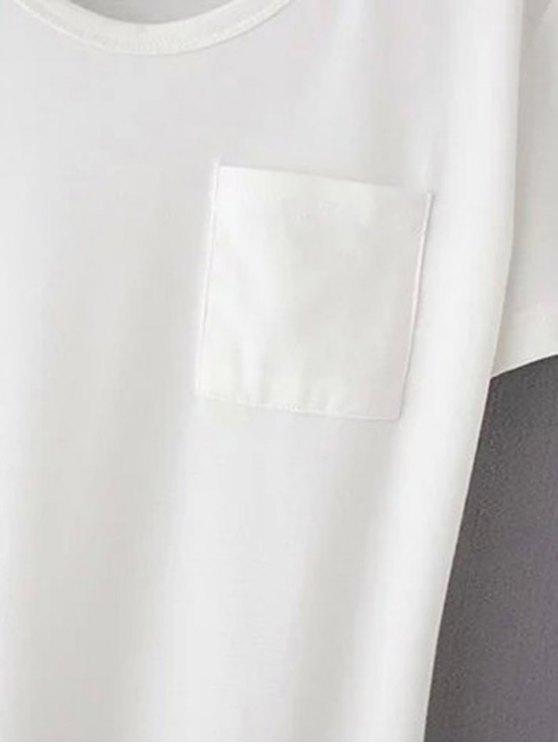 Patchwork Pocket Solid Color T-Shirt - BLACK S Mobile