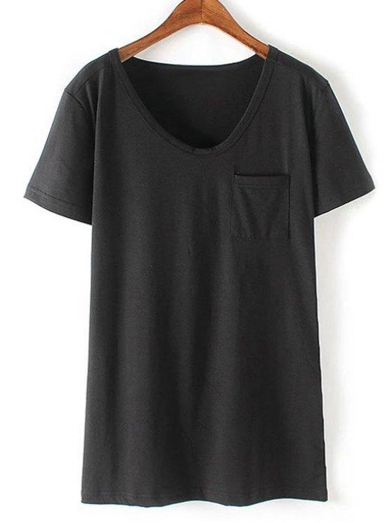 Patchwork Pocket Solid Color T-Shirt - BLACK M Mobile