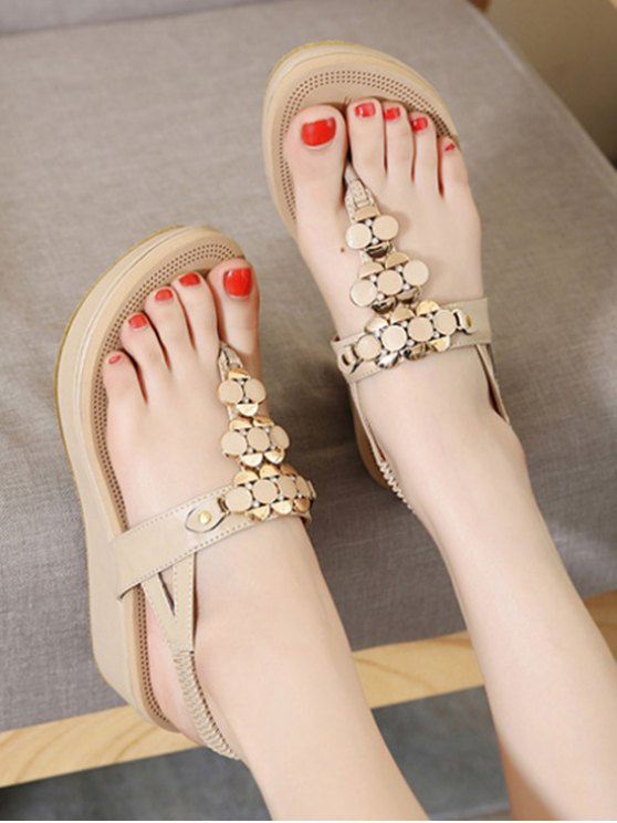 Metallic Elastic Platform Sandals - APRICOT 37 Mobile