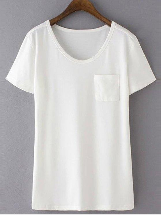 ladies Patchwork Pocket Solid Color T-Shirt - WHITE L