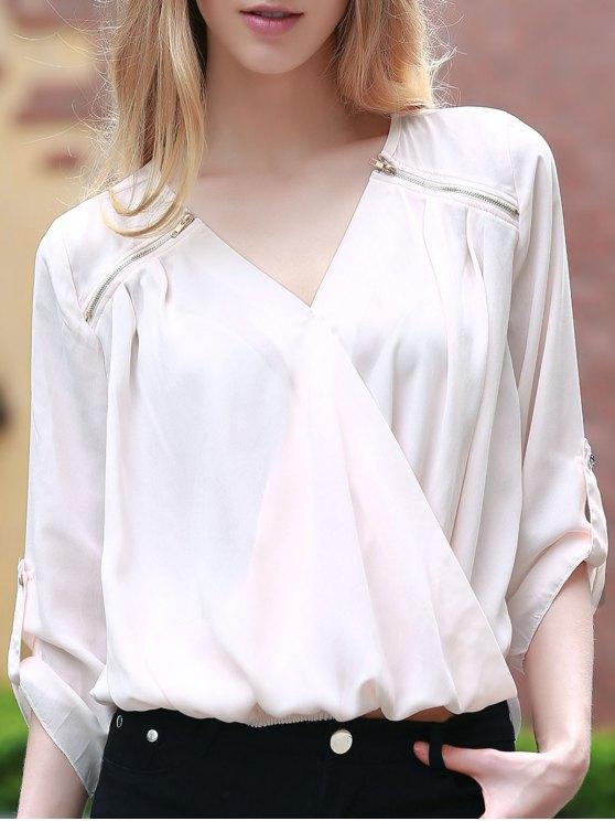 affordable Solid Color V-Neck 3/4 Sleeve Crossed Blouse - LIGHT PINK L