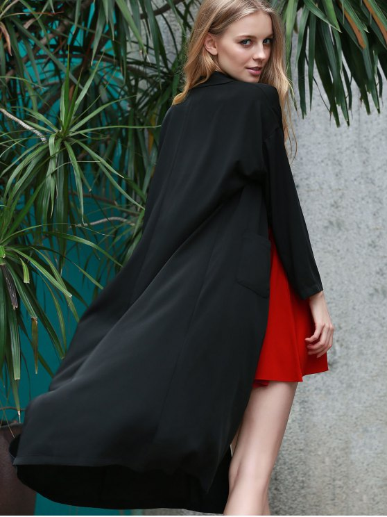 Back Slit Lapel Collar Long Sleeve Long Coat - BLACK 2XL Mobile