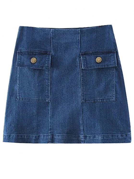 Two Pockets Denim Mini Skirt - BLUE M Mobile
