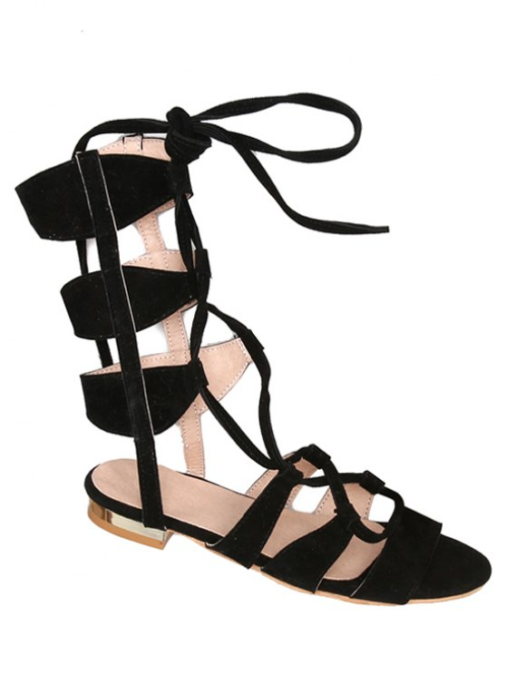 Solid Color Lace-Up High Top Sandals - Noir 38