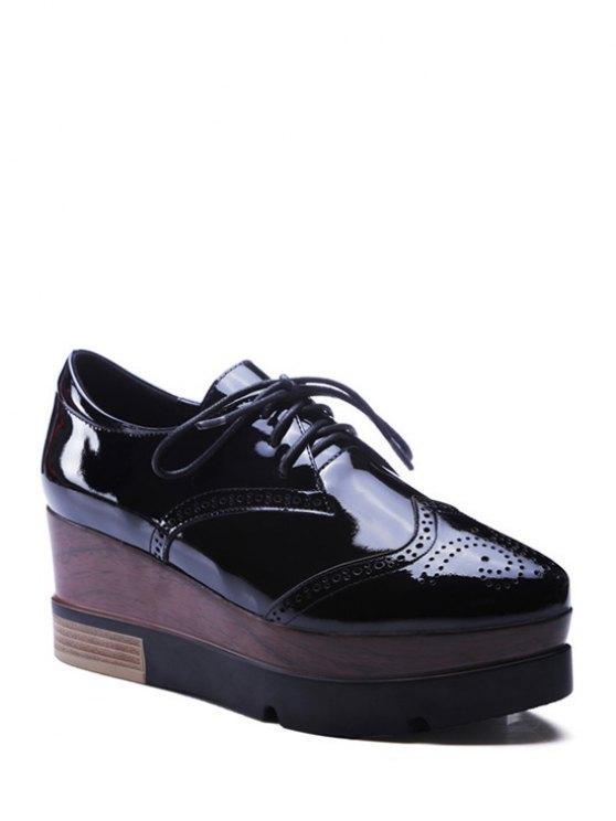 lace up engraving black platform shoes black platforms 37