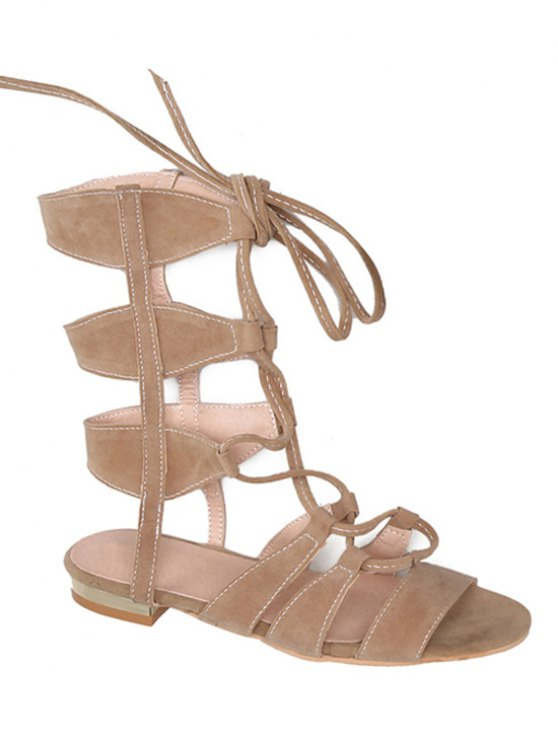 Solid Color Lace-Up High Top Sandals - Abricot 39
