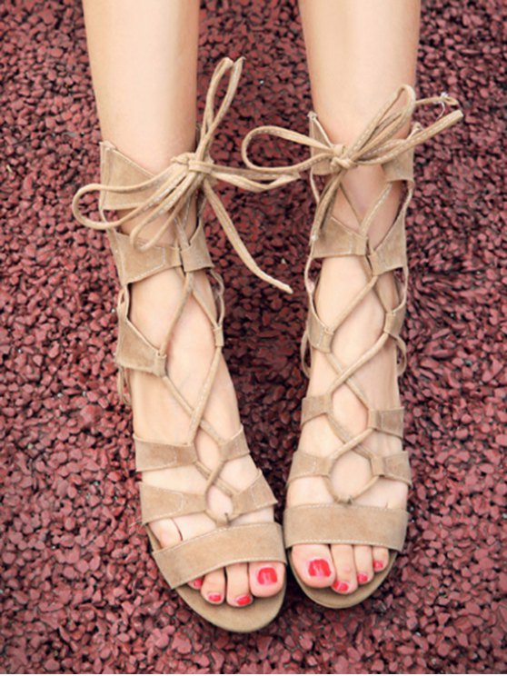 Solid Color Lace-Up High Top Sandals - APRICOT 39 Mobile