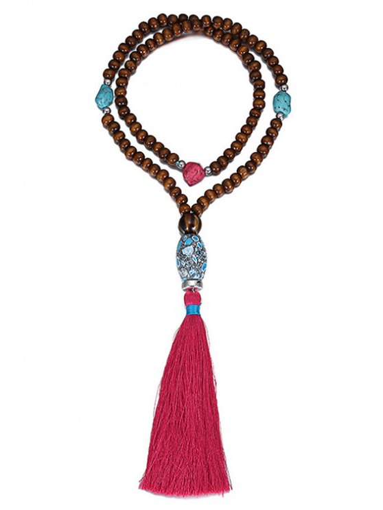 Ethnic Bead Tassel Necklace -   Mobile
