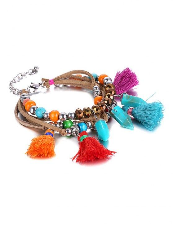 Ethnic Vintage Bead Tassel Bracelet - COLORMIX  Mobile
