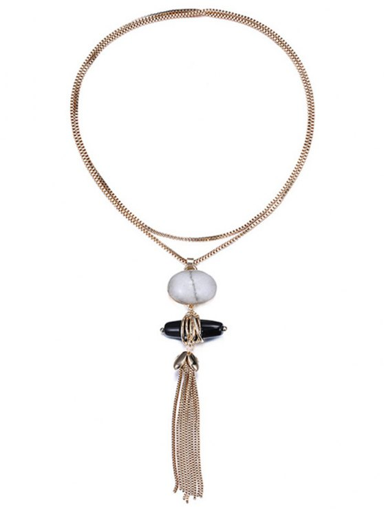 Trendy Natural Stone Sweater Chain -   Mobile