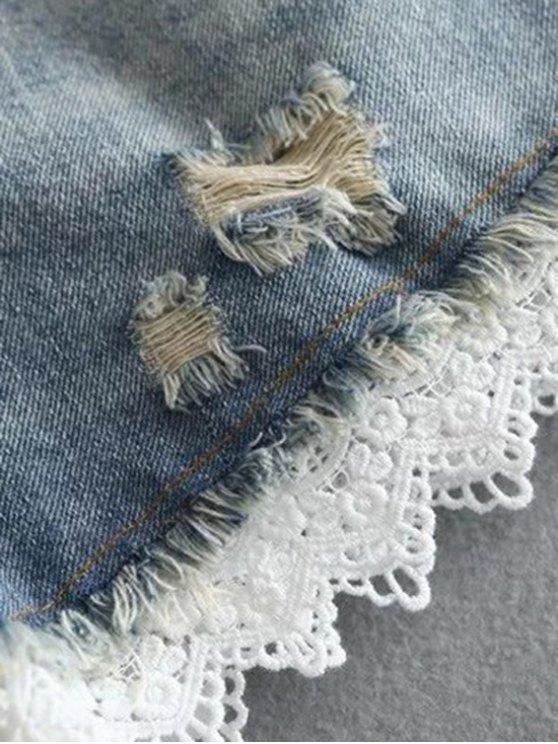 Lace Trim Denim Shorts - WHITE XL Mobile