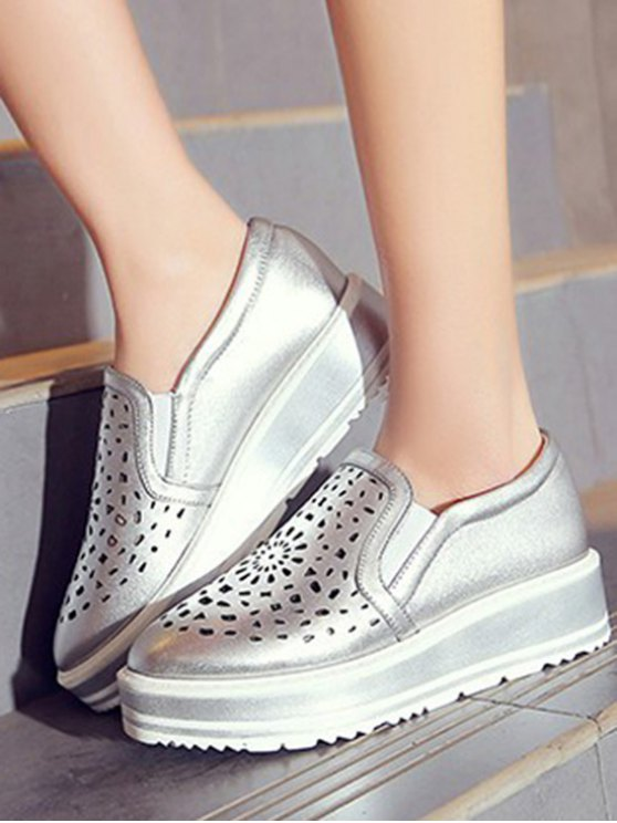 Hollow Out Slip-On Platform Shoes - SILVER 39 Mobile