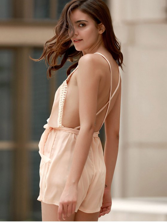 Lace Spliced Cami Backless Playsuit - NUDE L Mobile