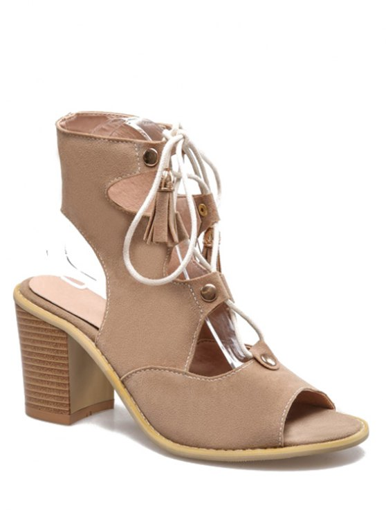 shops Lace-Up Peep Toe Chunky Heel Sandals - APRICOT 38