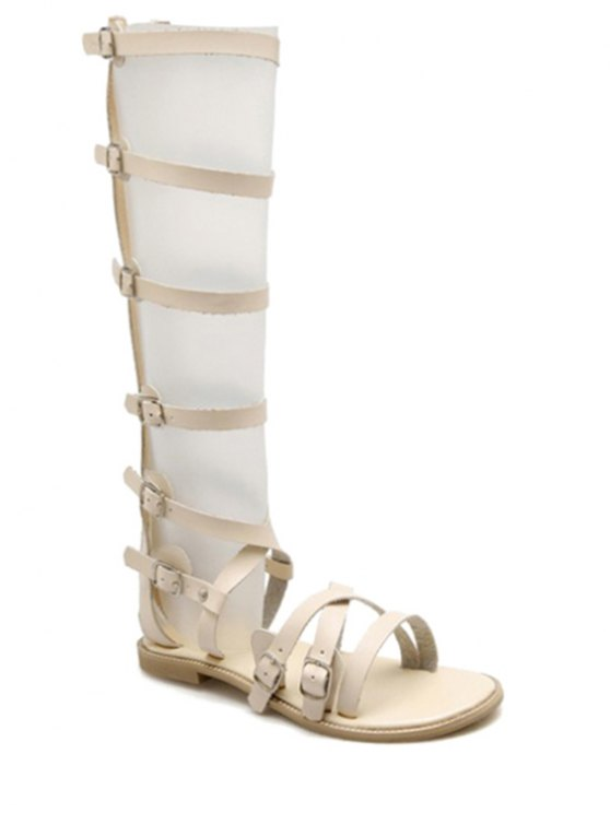 Buckles High Top Flat Heel Sandals - OFF-WHITE 39 Mobile