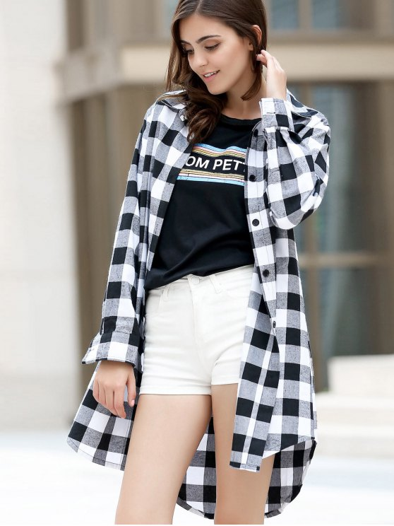 Checked High-Low Shirt Collar Long Sleeve Dress - BLACK XL Mobile