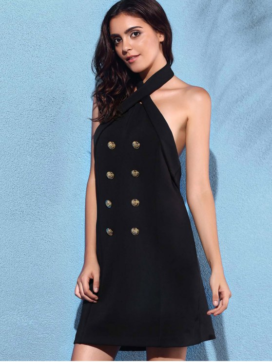 Backless Solid Color Cross Halter Sleeveless Dress - BLACK S Mobile